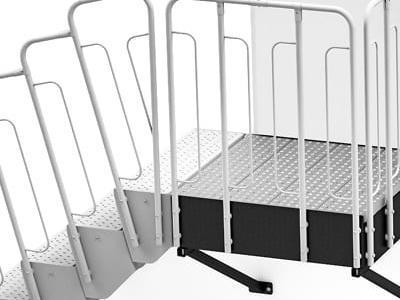 schody modułowe podest na wspornikach wariant 1