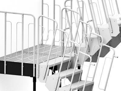 schody modułowe podest na wspornikach wariant 14