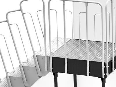 schody modułowe podest na wspornikach wariant 5